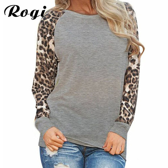 0a88bd105f2 Rogi Leopard Womens Tops And Blouses 2018 Long Sleeve Blouse Patchwork Shirt  Tunic Tee Shirt Femme