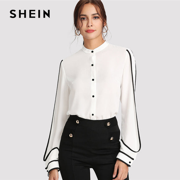 f7db154db9 SHEIN White Elegant Stand Collar Long Sleeve Button Black Striped Blouse  Autumn Women Workwear Shirt Top