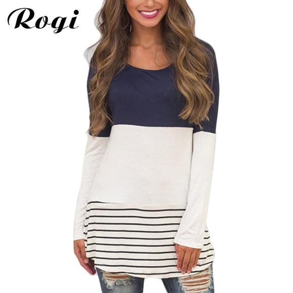 18df1151da Rogi Womens Tops and Blouses 2018 Fashion Autumn Lace Stripe Tunic Shirt  Long Sleeve Female Jumper