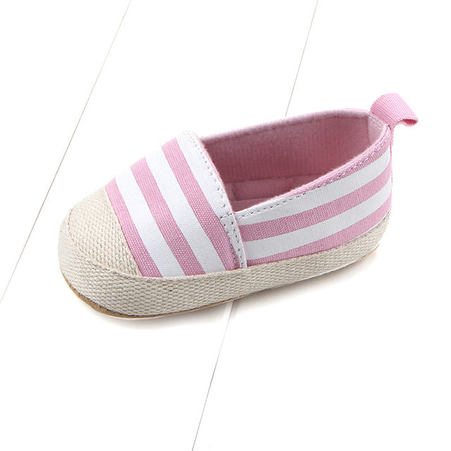 43d9470a01e2 ... 2018 Fashion Blue Striped Baby Boys Baby Girls Shoes Lovely Infant  First Walkers Cute Soft Sole ...