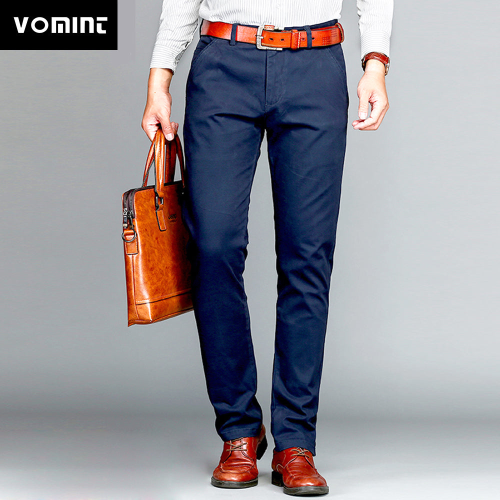 43f18a6c18fda Vomint Brand Mens Pant Classics Casual Business Stretch trousers regular  Straight Pant Black Blue Khaki 4 ...