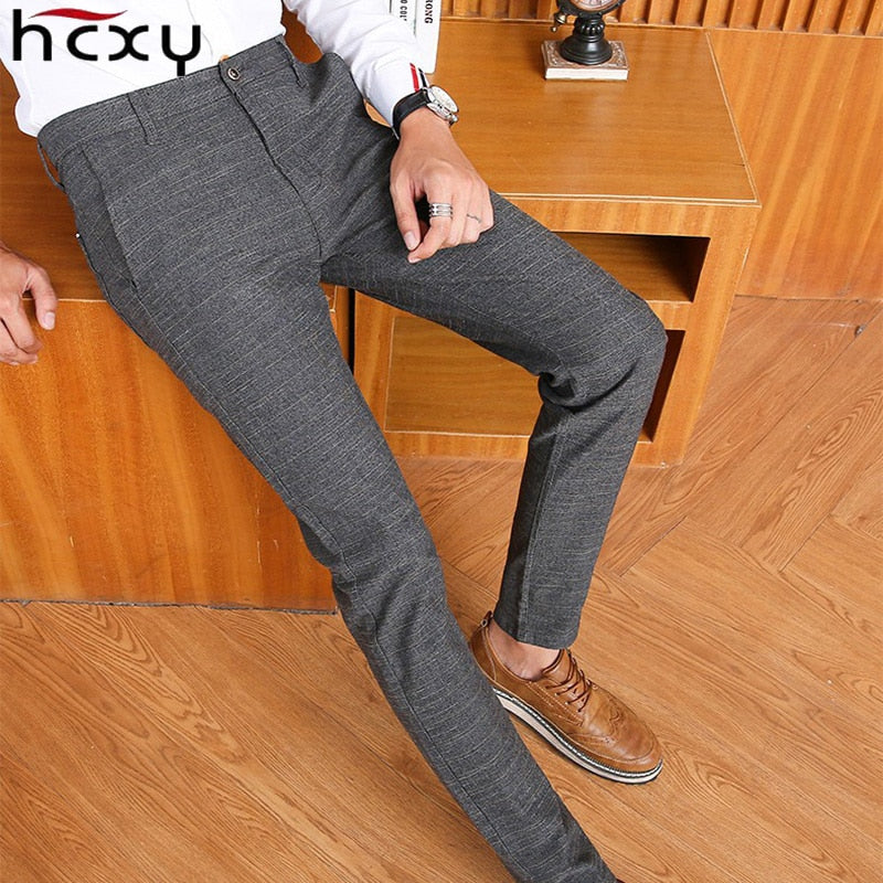 9310218c HCXY 2017 Spring Classic New High Quality Men's Elastic Casual Pants Mens  Business Dress Slim Jogger Stretch Long Trouser Male