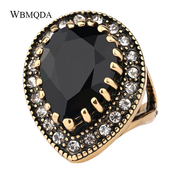 2018 Boho Big Black Stone Ring Antique Gold Mosaic Crystal Turkish Jewelry Vintage Red Wedding Rings For Women Accessories