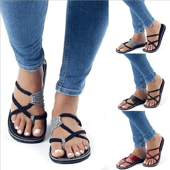 New women summer slippers cross lace up beach flip flops roman peep toe slides big size black ladies shoes