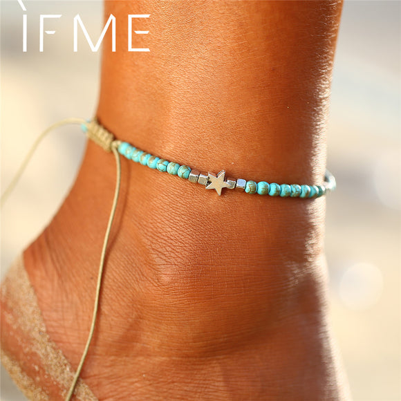 IF ME Bohemian Star Beads Stone Anklets for Women Vintage woven Rope  Pendant Bracelet on Leg eed41a9096e9