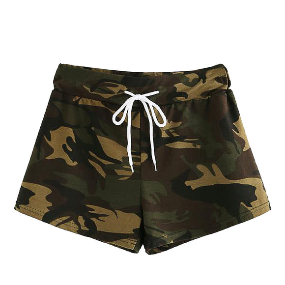 Women Short Summer Hot Sale Beach Fashion Casual Elastic Camouflage Drawstring Shorts Trousers Wholesale And Freeship F#J11