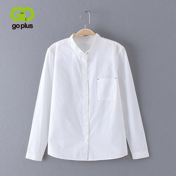 GOPLUS 2018 White Blouse Women Shirt Cotton Tops Sweets Stand Collar Stand Collar Long Sleeves Blusas Femininas C4270