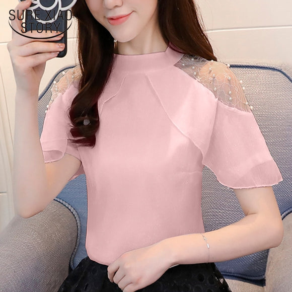 2018 new fashion women clothing solid sexy lady style women tops short sleeved blouses chiffon summer blouse women shirt 0002 30