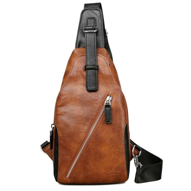 68cf67efb34b ... VICUNA POLO Anti-theft Leather Magnetic Button Open Man Chest Bags With  Headphne Hole Brand ...