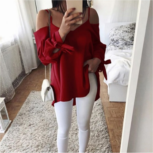 Sexy Off Shoulder Top Bandage Long Sleeve Women Shirts Blouses Casual Loose Blouse Ladies Blusas Plus Size S-5XL WS9031M
