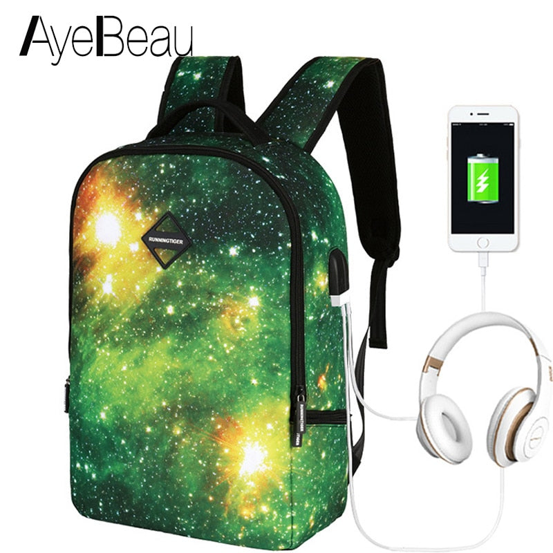 23eb615a22 Schoolbag Bagpack Portfolio School Bag Teen Printing USB Backpack Space With  Charging Female Women For Kids ...