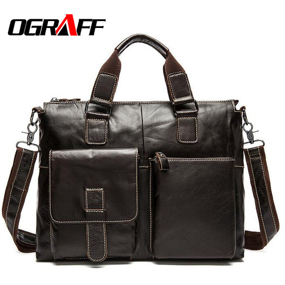 OGRAFF Genuine Leather Bag Men Handbag Designer Briefcase Men Messenger Bag Men Leather Shoulder Bag 2018 Handbag Male Bag