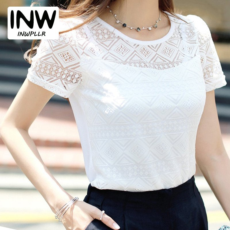 890e0c3d5056 Women Lace Blouse Femme Tops Chiffon Shirt Summer 2019 White Short Sleeve  Blusa Feminina Hollow Women ...