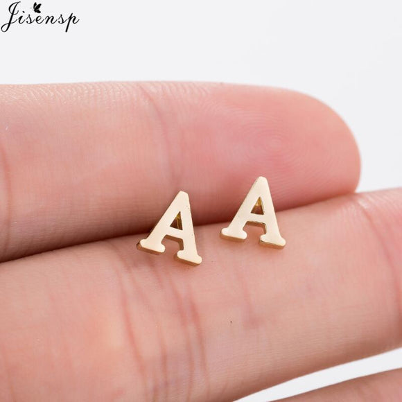 Jisensp Fashion Tiny Initial Letter Earrings Personalized Bridesmaids Gift Cute Alphabet Stud Earrings Everyday Jewelry brincos