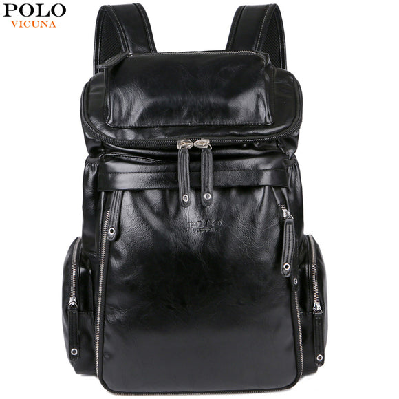 536594c5c347 VICUNA POLO New Arrival Leather Men School Book Bag Casual Travel Day Backpack  Bag Large Capacity