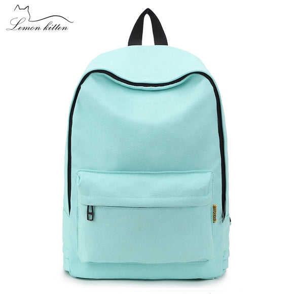 2018 Canvas Pure Color Backpack Fashion Adolescent Girl Backpack Female Best Women Backpack Rucksack Mochila Bagpack Travel Bag