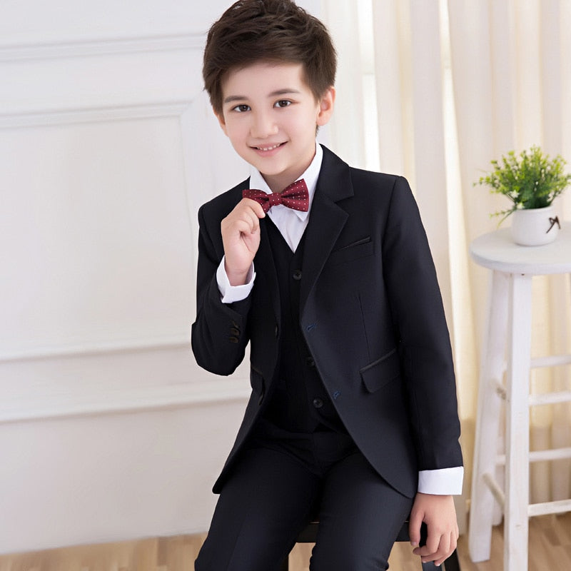 39a8d3c5feb2 5pcs Fashion Children black wedding Suits for boys kids blazers formal  clothes uniform teenager school winter ...