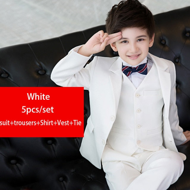 7715b722e533 ... 5pcs Fashion Children black wedding Suits for boys kids blazers formal  clothes uniform teenager school winter ...