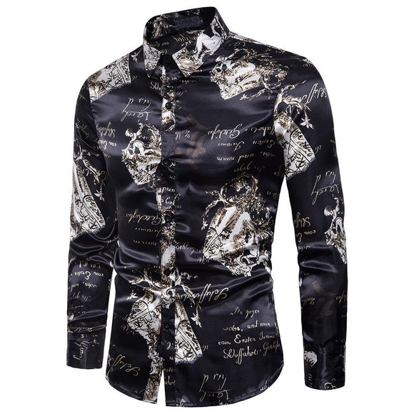 Men's Autumn Casual Shirts Long Sleeve Shirt Ptinted Shirt  Top Blouse