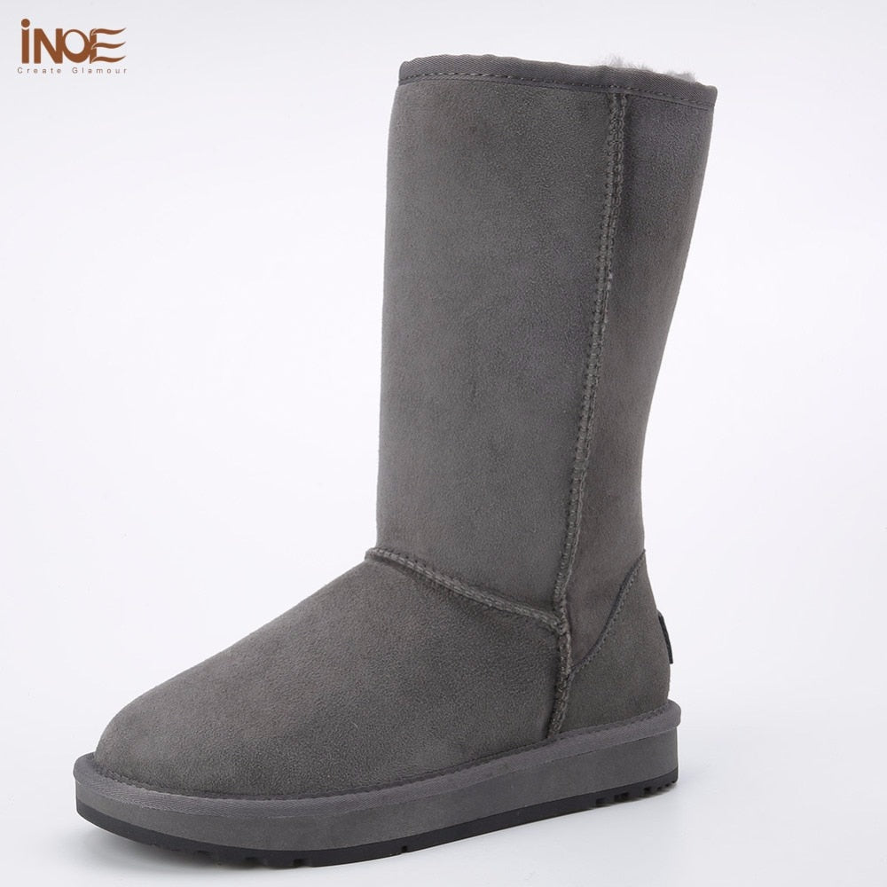 32a0b061c0d INOE classic men high suede real sheepskin leather fur lined winter snow  boots for men winter ...