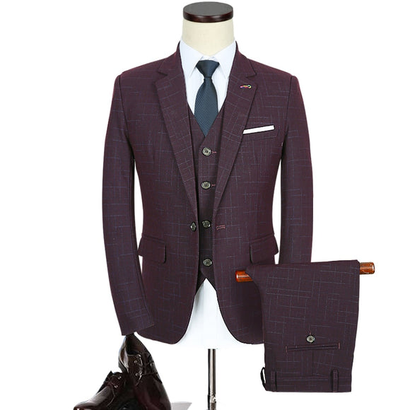 (Tops + pants + vests) Large size business men's cotton suits professional wear wedding groom dress deep wine red S-5XL