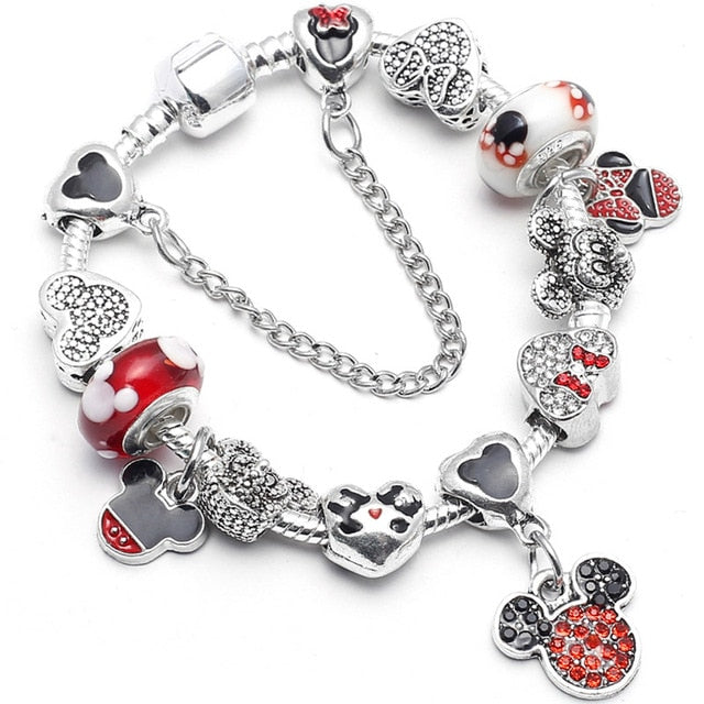 b06bd15874c BAOPON Dropshipping Mickey Minnie Charm Bracelet With Nice Marano Beads Fit  Original Pandora Bracelet For Kids Special Gift