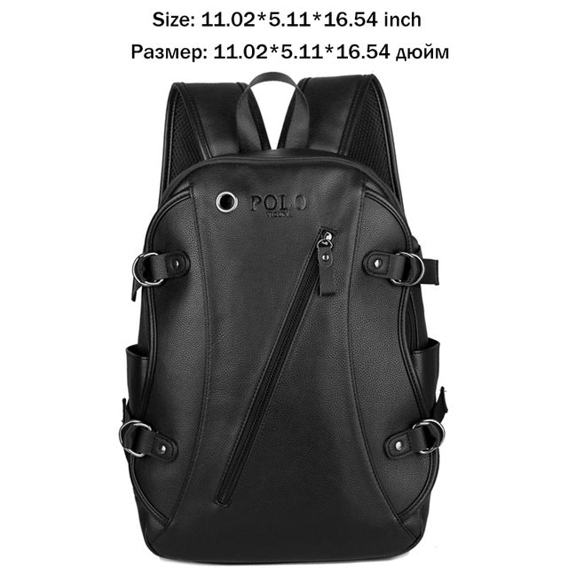fd39f7e5811e ... VICUNA POLO Fashion Brand Men s Laptop Backpack With Earphone Hole  Casual Men Leather Rucksack USB Charge