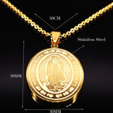 2018 Hip Hop Blessed Virgin Mary Gold Color Necklaces for Men Big Stainless Steel Necklace Men Boy Jewelry 16012635B