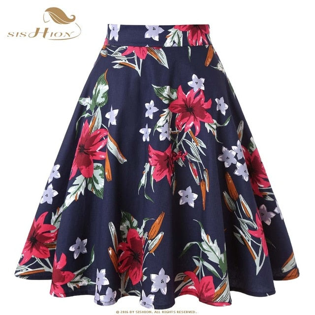 fb441332d ... SISHION Black Skirt Women High Waist Plus Size Floral Print Polka Dot  Ladies Plaid Skirts Skater ...