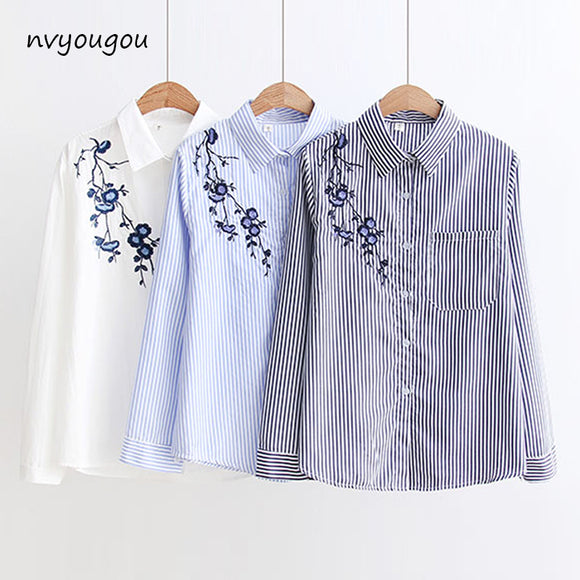 3f79bed9d Autumn Floral Embroidery White Long Sleeve Women Blouses Blue Striped Shirt  Cotton Casual Women Tops blusas