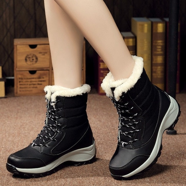 e1697cf7064 Women boots non-slip waterproof winter ankle snow boots women platform  winter shoes with thick fur botas mujer