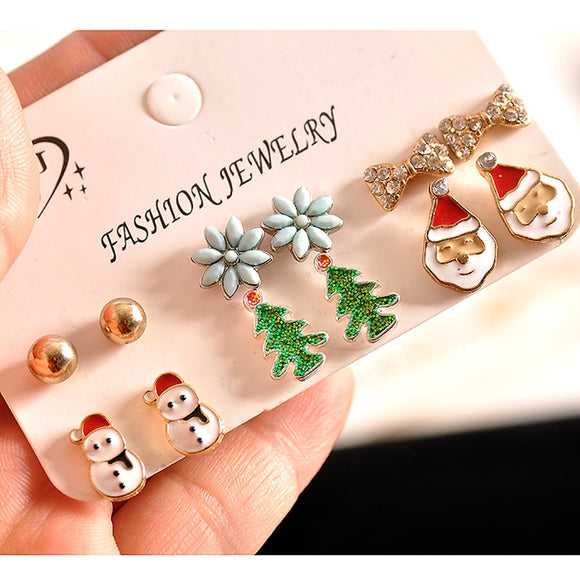 Fashion women accessories, girls, boys, Christmas trees, snowmen, Santa Claus earrings, 6 pairs of /set Earrings proxy shipping