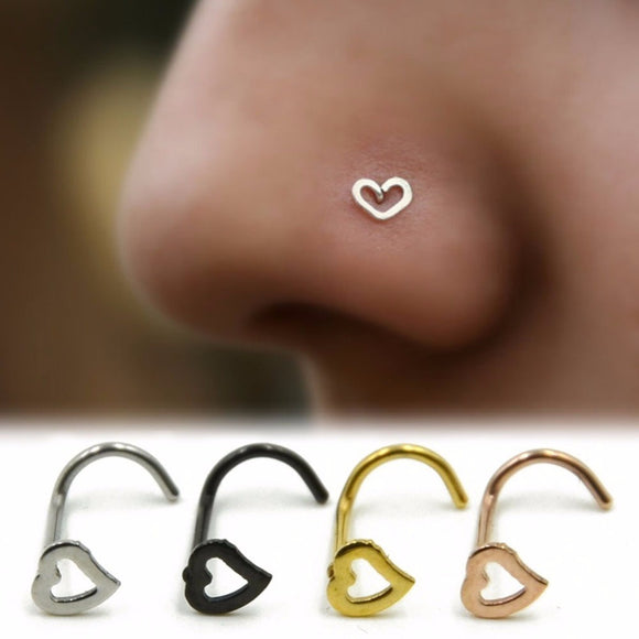 1Pc Fashion Punk Stainless Steel Love Heart Nose Ring Nostril Hoop Women Accessories Jewelry #247813