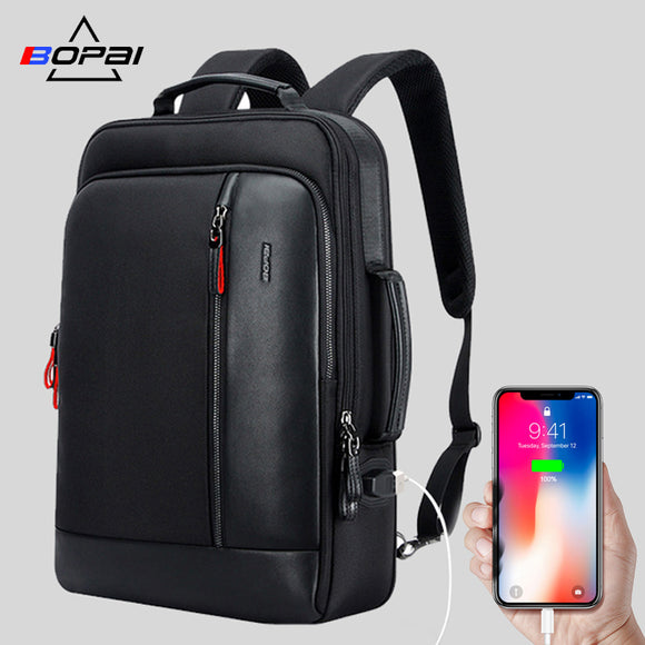 BOPAI Anti theft Enlarge Backpack USB External Charge 15.6 Inch Laptop  Backpack Men Waterproof School Backpack 849428a3bcc12