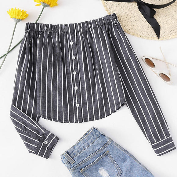 Sexy Women Shirt Long Sleeves For Office Work Tops and Blouses 2018 Female Autumn Shirts Women Blusa Feminina Slash Neck Striped