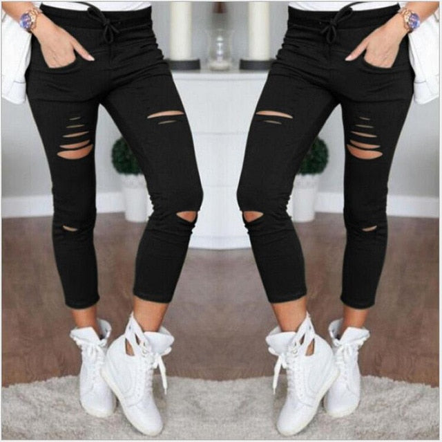 941eaf50582 ... Nuojin New Skinny Jeans Women Shredded pants High Waist Pants Women  Trousers Women Leggings Hole Sweatpants ...