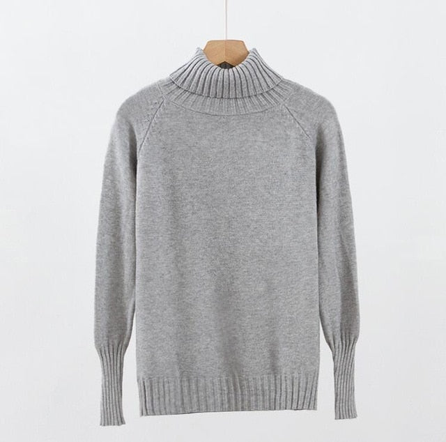 ... 2018 Women Turtleneck Pullover and Sweaters Korean Fashion Long Sleeve  Jumpers Loose Solid Sweater Autumn Winter ... 679a143c8