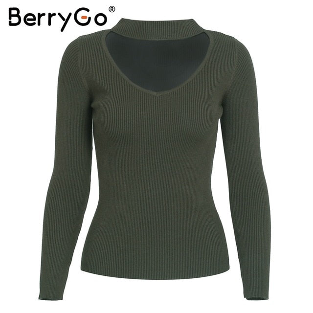 59490665fad82 BerryGo Autumn winter black halter knitted sweater Red sexy pullover ...