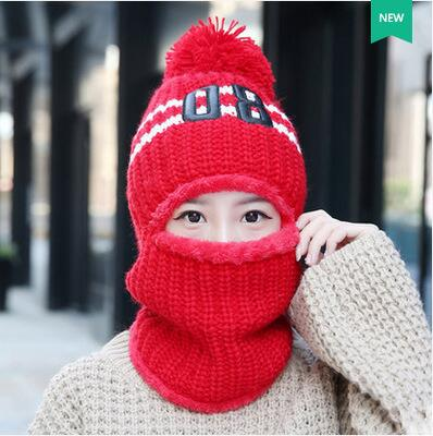 056a4a58cd4 ... New Women Winter Plus Velvet Hat 08 Letter Ear Protection Balaclava  Fashion Warm Winter Hat For ...