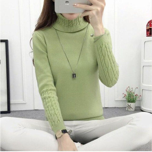 Sweater Women Turtleneck Tops Long Sleeve Warm Cashmere Casual Winter Pullover