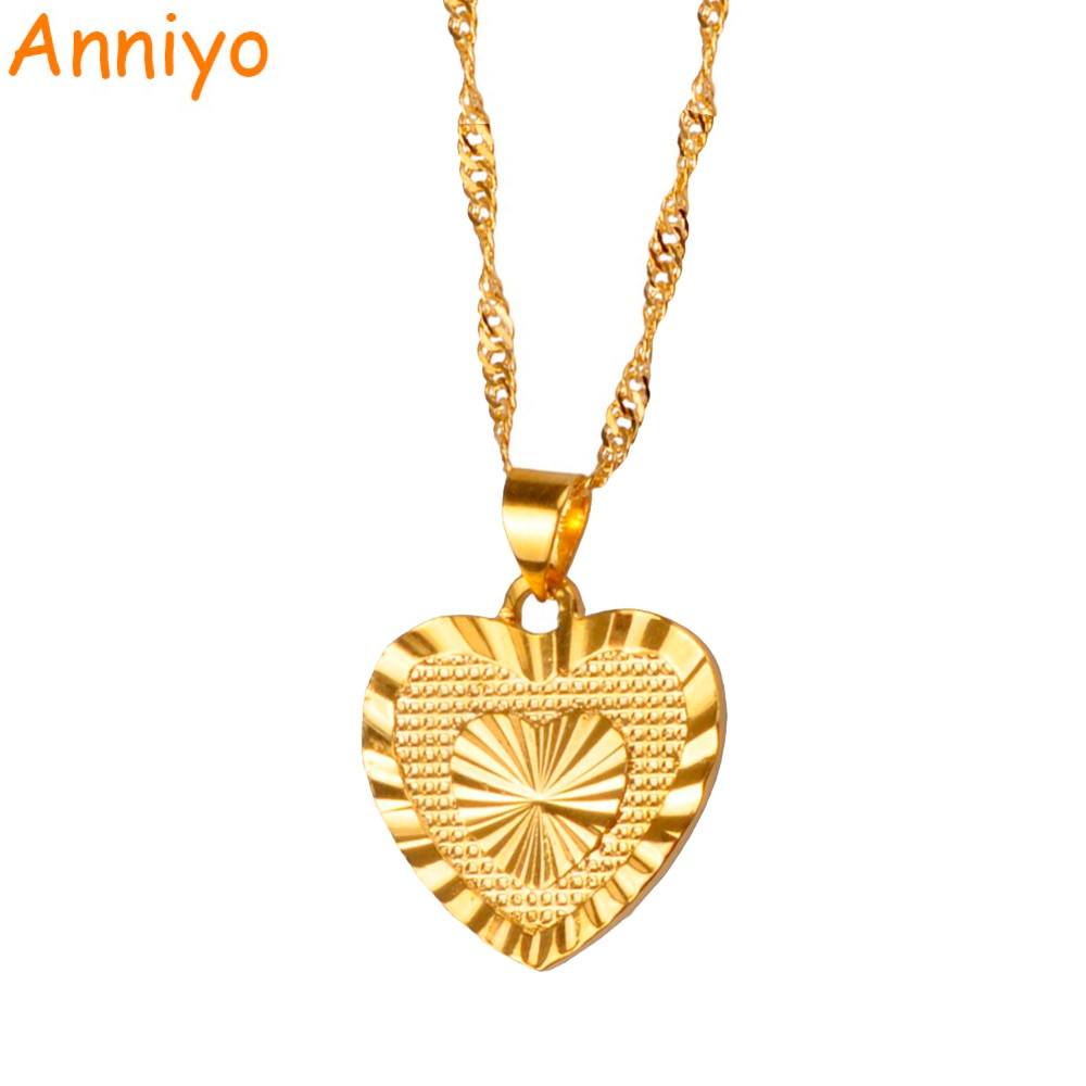 de611fe8fd46b Anniyo 1.8cm Heart Pendant and Necklaces Romantic Jewelry Gold Color for  Womens Girls Wedding Gift Girlfriend Wife Gifts #006110