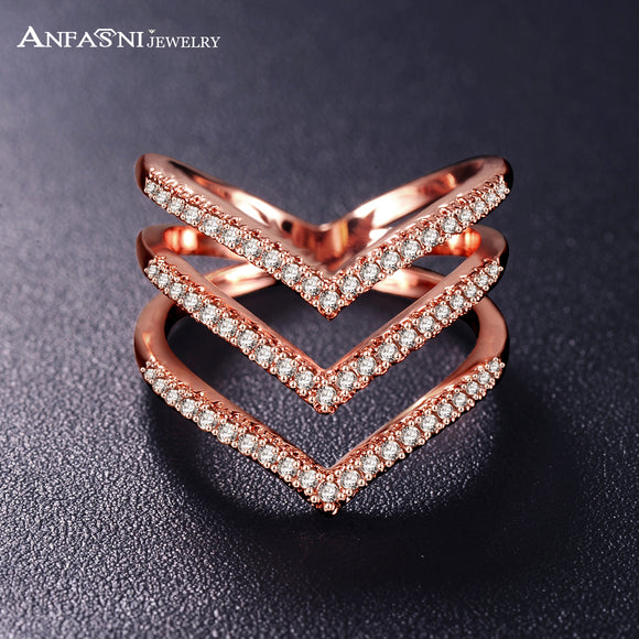 ANFASNI Fashion New Women Rings Rose Golden Color Micro Pave CZ Stone Three V Shape Ring Fashion Jewelry for Women CRI1034