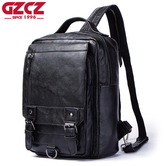 GZCZ Men Backpacks Genuine Leather Softback Bag Laptop Backpack Large Capacity Stundet Backpack Casual Style Bag Water Repellent