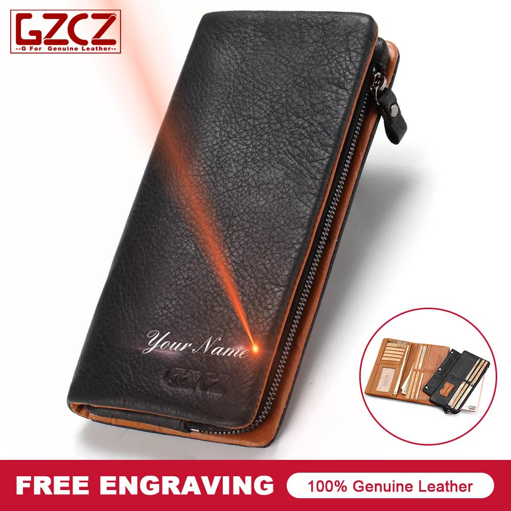 6a8ea6be4c926 2018 New Genuine Leather Men Wallet Purse Male Fashion Design 3 Size Custom  Made Wallets Gift ...