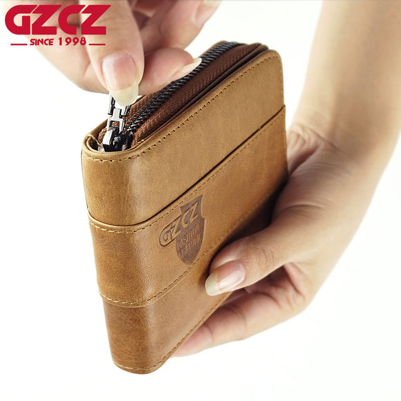 GZCZ 2018 New Fashion Genuine Leather Men Wallet Small Men Walet Zipper Male Short Coin Purse Brand High Quality Clamp For Money