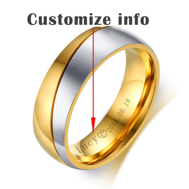 7a899c662c ... Vnox Rings For Women Man Wedding Ring Gold Color 316L Stainless Steel Promise  Couple Jewelry ...
