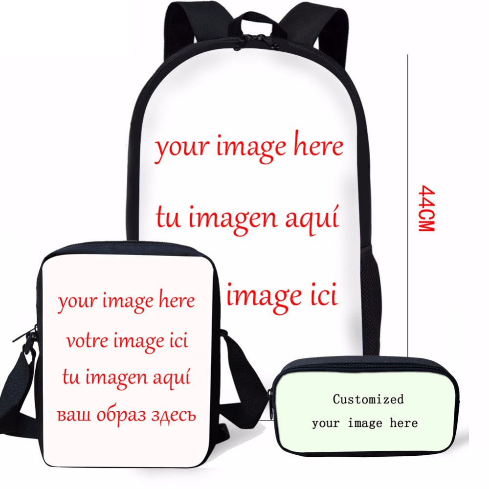 c7fa4090708 FORUDESIGNS 3PCS Set Women Backpack Customized Your Image Here School Bags Teenager  Girl Boy Mochilas ...