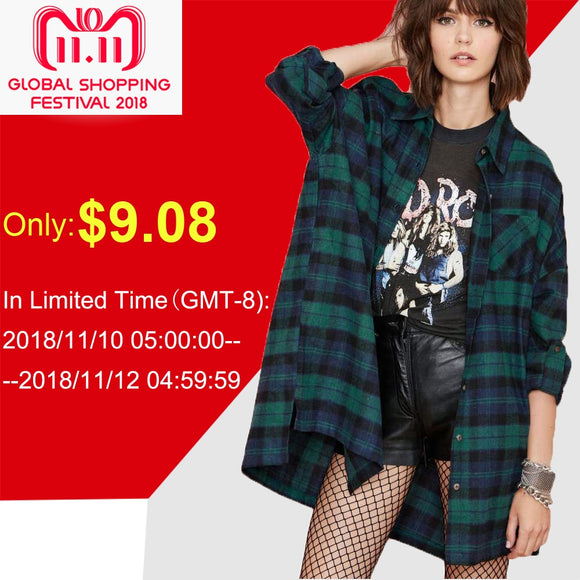 Plus Size 3XL 4XL 5XL Autumn Tops Plaid Shirts Blouses Women Tartan Shirt Long Sleeve Baggy Check Blouse Oversized female tunics