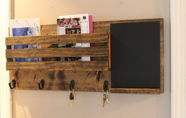 Double Mail Slot with Chalkboard Organizer