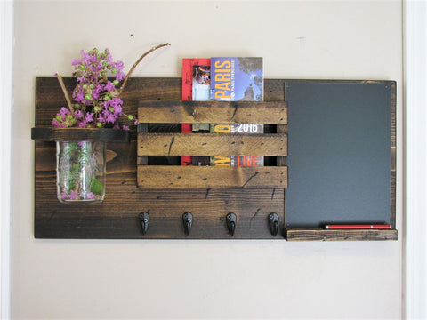Mason Jar, Mail Holder, and Chalk Board Mail Organizer